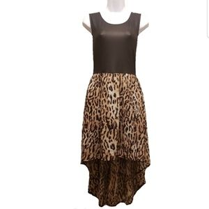 Almost Famous Black and Animal Print Hi-Low Dress